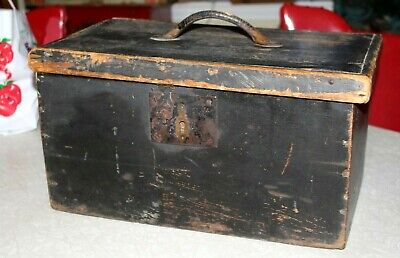 Antique 19thc Primitive Old Black Painted Wooden Document Tool Chest Box