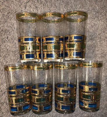 Vintage Culver Empress  Green Blue Gold Highball Tumblers Set of 7
