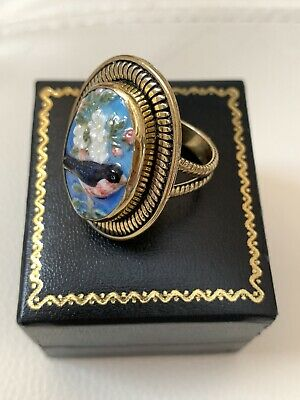 Amy Kahn Russell- Brass Ring With a Beautiful Hand Painted Bird On Enamel .