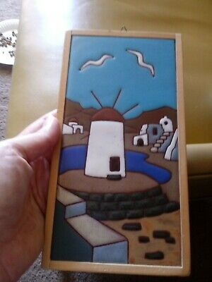 "CERAMIC GLAZED  ART TILE 6""x 6"" SEAGULL/LIGHTHOUSE GOOD CONDITION pottery"
