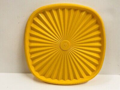 VTG Tupperware Yellow 837 Replacement Servalier Seal Cover Lid Only Square 8.25""