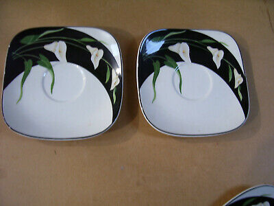 "Set Of 2 Black Lilies Quadrille by Sango 7 1/ 2"" Saucers No Cups Made In Korea"