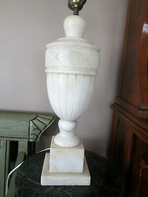 FROM Local Artist 90 Year Old ESTATE SALE SOLID WHITE MARBLE TABLE LAMP