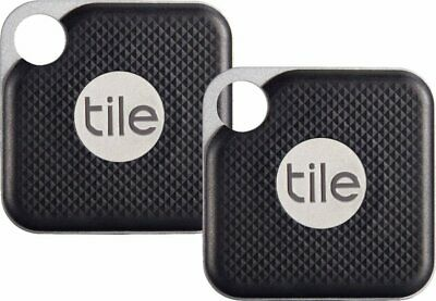 NEW Tile Pro Item Tracker Bluetooth GPS Locator Replaceable Battery 2-PACK BLACK