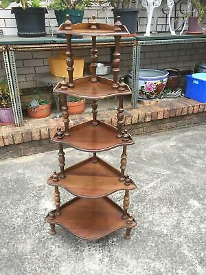 Vintage Ornate CORNER WHAT NOT Stand 5 Tier