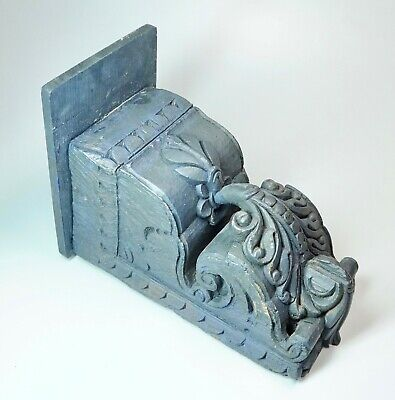 "Antique Hand Carved Wood Acanthus Corbel Shelf Painted Blue-Grey 9 7/8"" High"