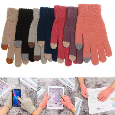 Keep Finger Warm Full Finger Knitted Gloves Touch Screen  Mittens Thicken Warm