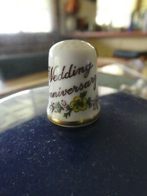 Vintage Collectable Caverswall Wedding Anniversary Thimble