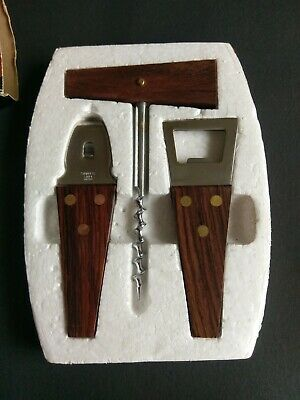 Vintage 3 Piece Stainless Steep Rosewood Handle Bar Set Excellent Condition
