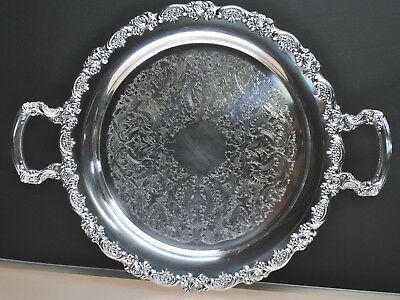 """Beautiful Antique Onieda Silver Plate  Tray/Platter Circa Late1800'S 15"""" Round"""