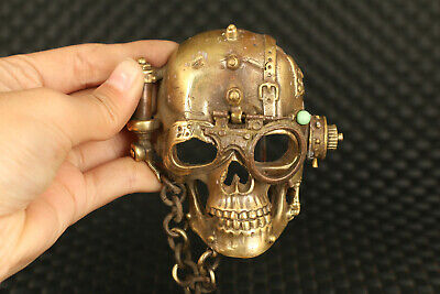 unique   fashion chinese old bronze hand casting skull buckle