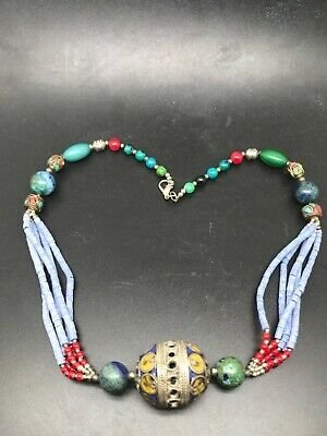 Lovely lapis necklace with many different ancient stones beads