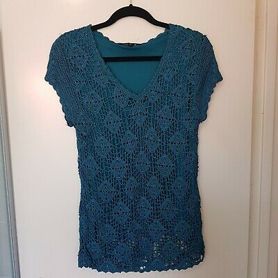 Liz Jordan Size 14 Teal Green Sparkly Crochet Short Sleeve Top