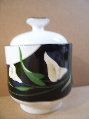 Black Lilies Quadrille by Sango Sugar Bowl With Lid Vintage Made In Korea