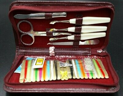Complete Vintage Ladies Travelling Manicure and Sewing Kit in Zip up Case
