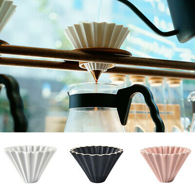 Pour Over Cone Dripper Ceramic Coffee Filter Cup Tea Strainer 11.5x7.5cm Hot