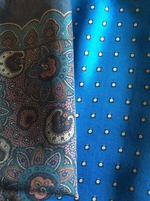 Two Vintage Silk Handkerchiefs Blue Spotted And Paisley