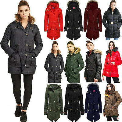 Ladies Womens Girls Jacket Hooded Winter Trench Parker Parka Long Coat Plus Size