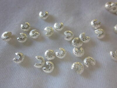 50 Silver Coloured 5mm Stardust Crimp Knot Covers #2492 Jewellery Making Craft