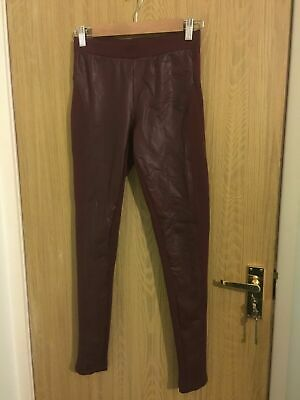 Women's Leggings Red burgundy with wet look front patches Size Small Must have