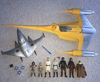 Star Wars EP1 Vehicles Figures Toy Lot Naboo Guards Star Fighter Ship Hasbro 💥