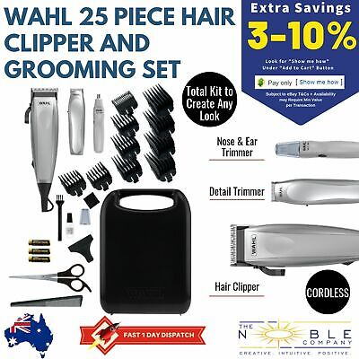 WAHL Hair Clippers Cordless Beard Trimmer Mens Grooming Hair Kit 25pc Electric