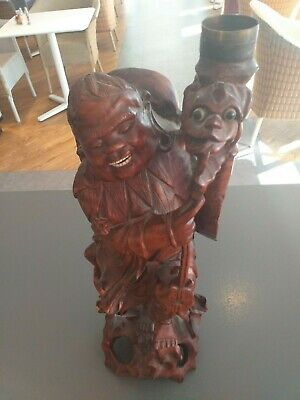 Chinese root / hardwood wood carved wooden ANTIQUE carving Dragon Man carving