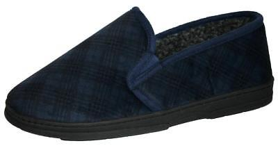 *SALE* Mens Dunlop Wide Fit Slip On Elasticated Twin Gusset Slippers Navy Size 6