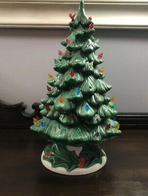 """Vintage 1985 Holland Mold Ceramic Christmas Tree With Holly Base 14"""""""