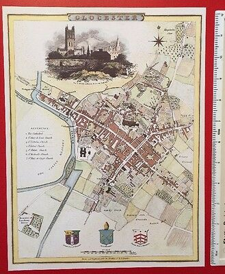 """Old Antique colour map of Gloucester, England: early 1800's 12 x 9"""" Cole & Roper"""