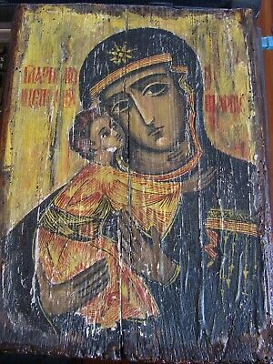 Antique Russian Orthodox Hand Painted Icon Wood