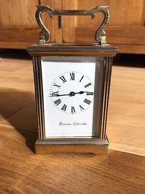 Vintage Brass Cased Working Swansea Goldsmiths Carriage Clock Complete With Key