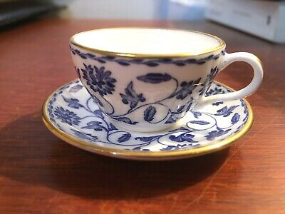 Miniature Spode Fine Bone China England Cup And Saucer Blue/white design Perfect