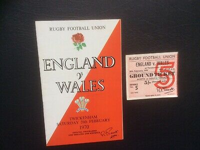 ENGLAND v WALES RUGBY PROGRAMME AND TICKET TWICKENHAM 1970.