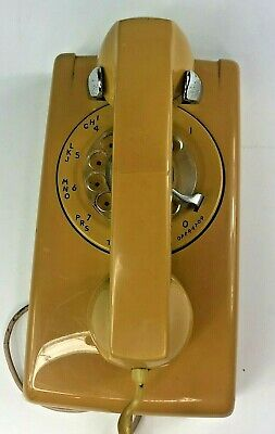 Vintage Rotary ITT Wall Mount Phone Yellow  color Rare