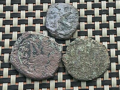 Lot Of 3 Ancient Byzantine Medieval Bronze Coins Ae Follis And Ae Half-Follis
