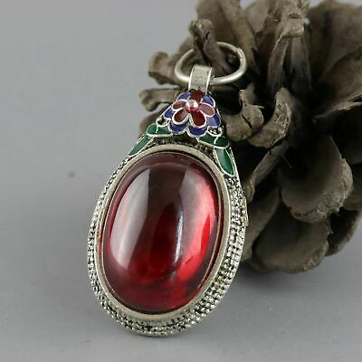 Collect Tibet Silver Cloisonne Inlay Zircon Hand Carve Flower Delicate Pendant
