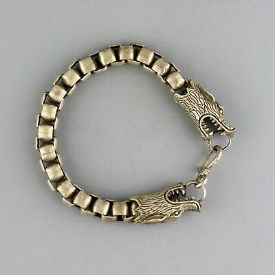 Collect China Old Miao Silver Hand-Carved Double Dragon Moral Exorcism Bracelet