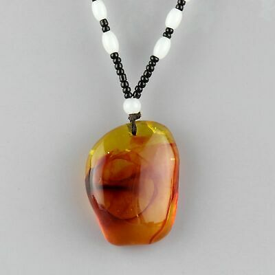 Collect China Amber Hand-Carved Natural Texture Smooth Delicate Decor Necklace
