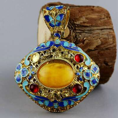 Collectable China Old Cloisonne Inlay Amber Carve Girl Delicate Decorate Pendant