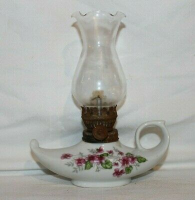 Vintage Ceramic Genie Oil lamp Made in Japan with painted flowers