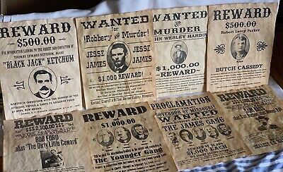 8 Old West Wanted Posters - Jesse James & Others