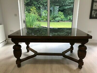 Antique Belgian Oak Tudor Draw Leaf Dining table