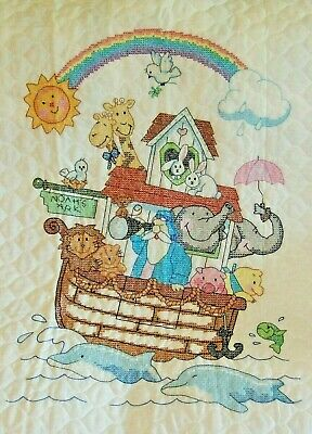 Noah's Ark Quilt Hand Embroidered 1996 LAND HO! Sunset Dimensions