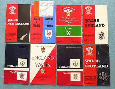 EIGHT Wales Rugby Union Programmes -1960's to 1980's