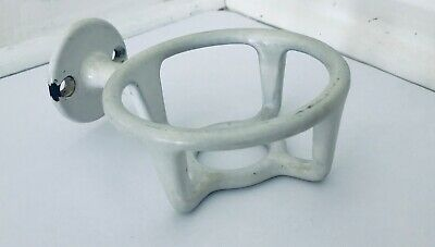 Antique White Enameled Cast Iron Glass Holder Wall Mounted