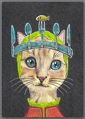ACEO watercolor painting  - cat kitten magic hat fork spoon knife crown