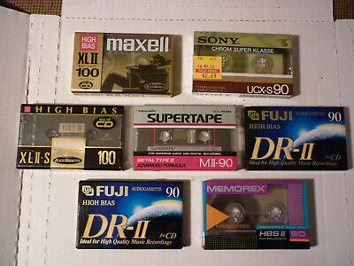 7 NEW High Bias Type ll Cassette Tapes Maxell XLll-S 100,Sony UCX-S90 Import!NOS