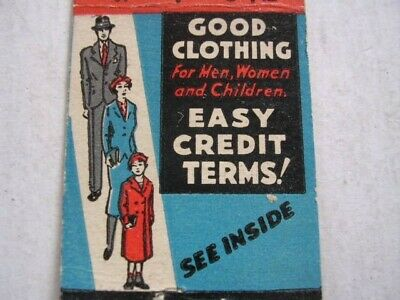 "The Hub ""Good Clothing"" Easy Credit Terms Dallas Texas Matchcover"