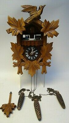 Hubert Herr Carved Black Forest Chalet Style Cuckoo Clock for Restoration